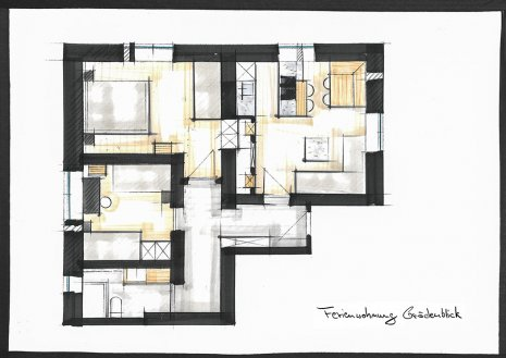 Floor plan Accommodation | haus urban B&B | Apartment Grödenblick